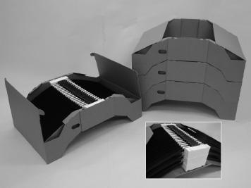 『エアロスリムブレードの逆舟形集合包装』