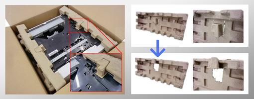 『高性能パルプモールド緩衝材による包装サイズコンパクト化』
