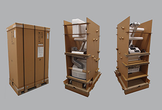 『手術用顕微鏡の《重くても一人で開梱・搬入できる輸出包装形態》』