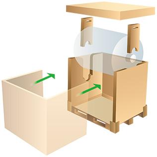 『光学フィルムロール吊り梱包箱』
