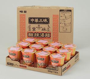 『縦型カップ麺用易開封ダンボール』