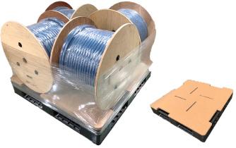 『高圧電線ドラムの「風車梱包」』